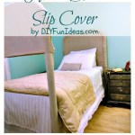 Easy No Sew Diy Drop Cloth Rosette Headboard Slipcover Thrifty Bedroom Update Do It Yourself Fun Ideas