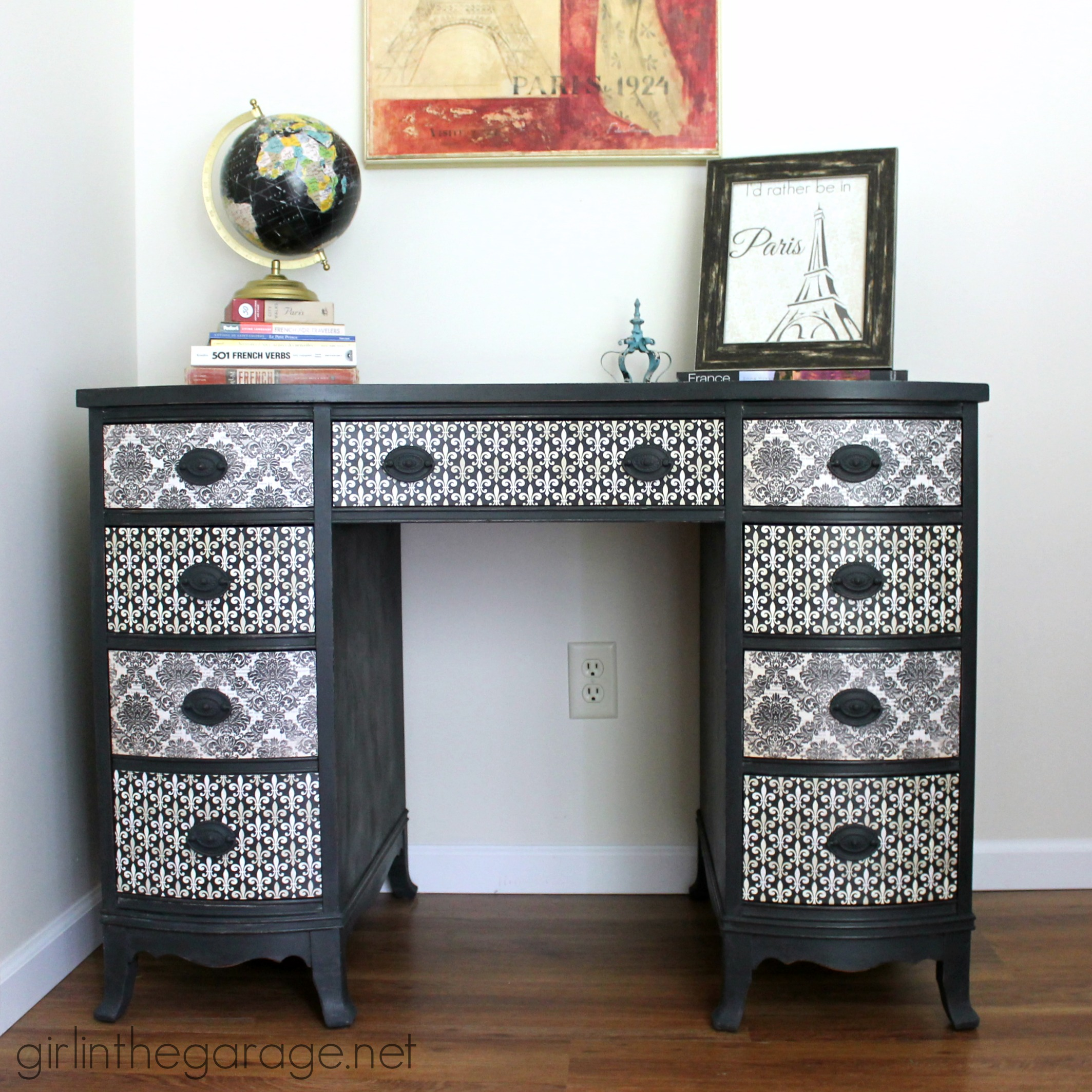 French Decoupage Desk Makeover - by Girl in the Garage