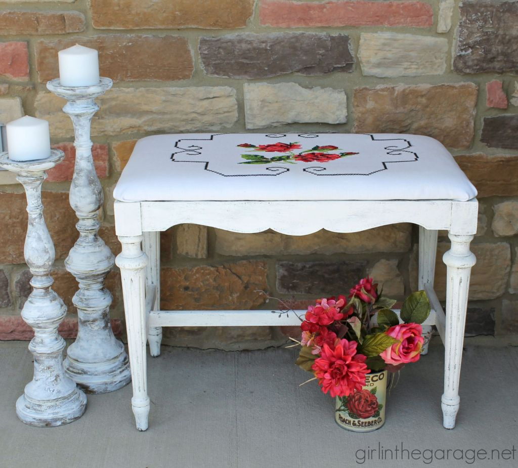 Antique Bench Makeover with Vintage Pillowcase - by Girl in the Garage