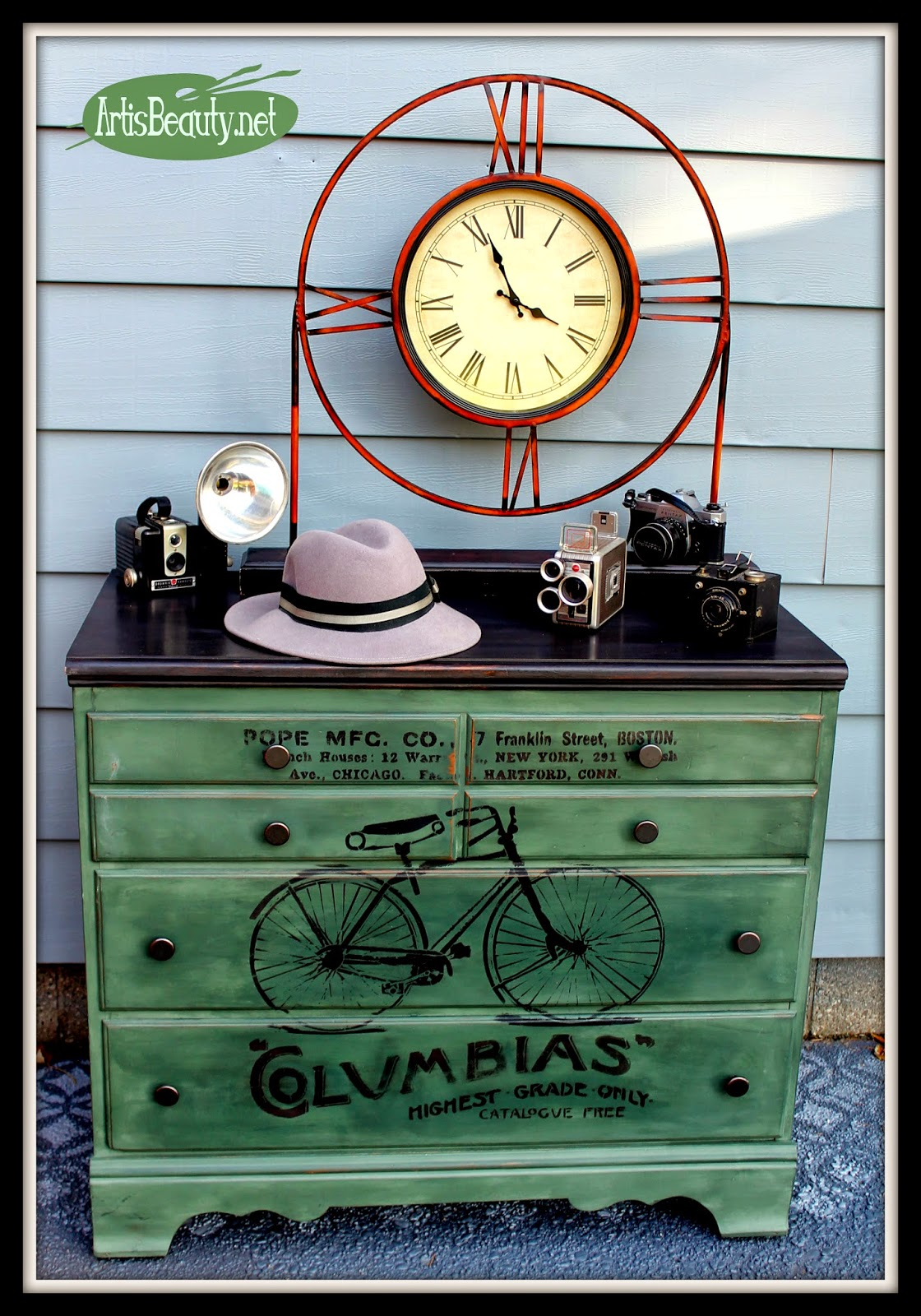 Stenciled Bicycle Dresser Makeover - by Art is Beauty