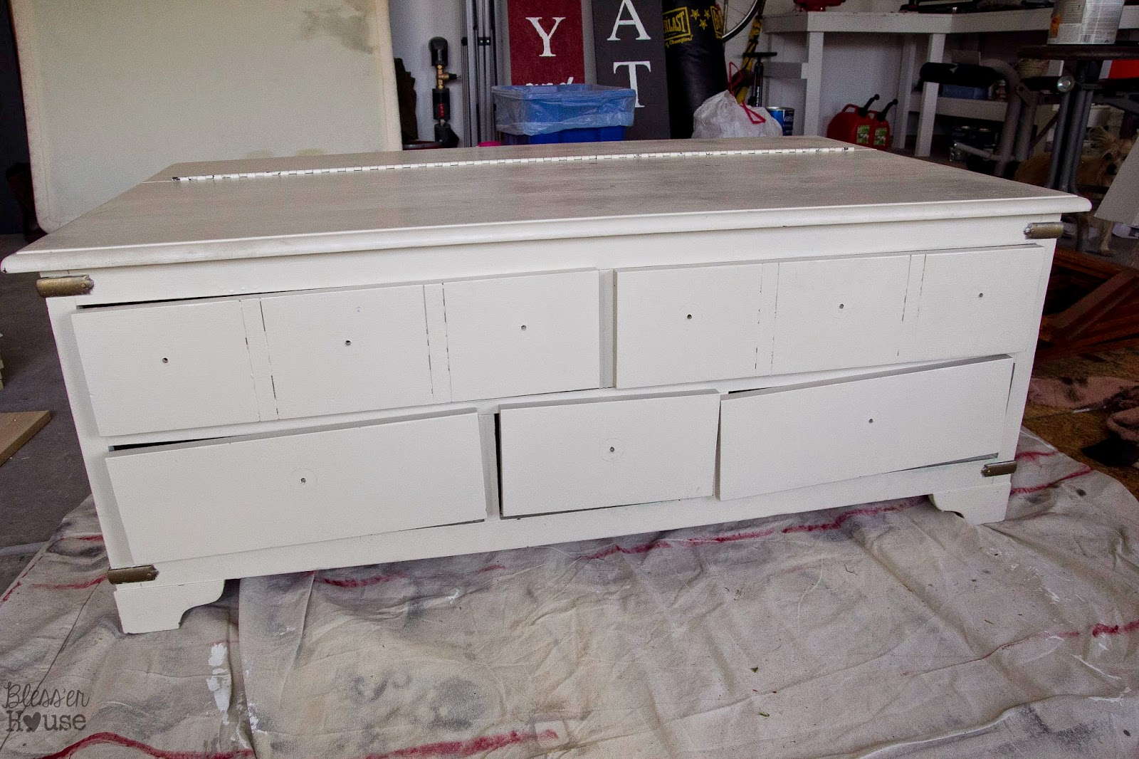 (Before) Faux Planked Card Catalog Coffee Table Makeover - by Bless'er House
