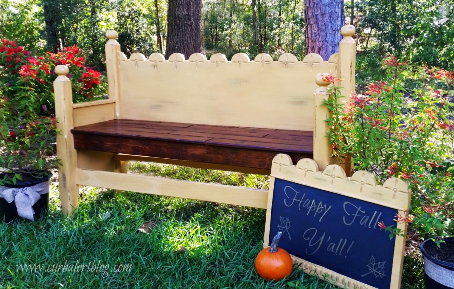 How to make a DIY repurposed headboard bench - by Curb Alert blog