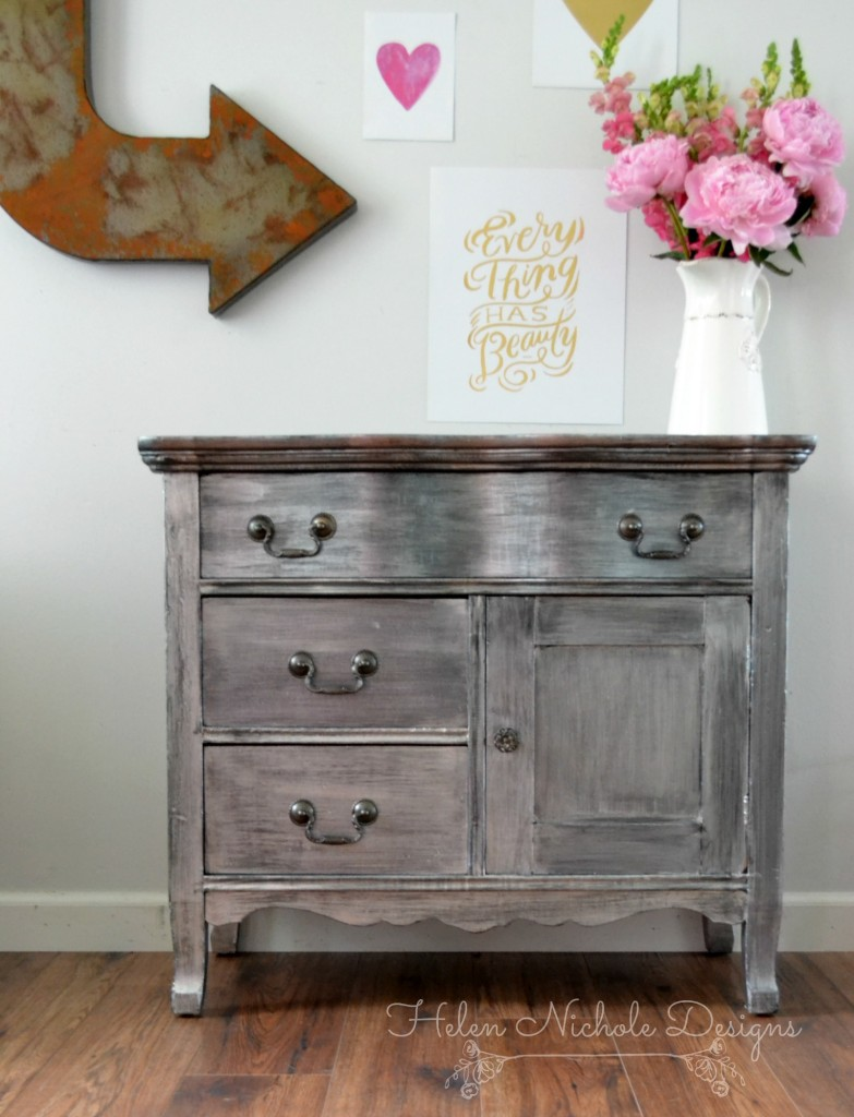 Zinc Metallic Washstand Makeover - by Helen Nichole Designs