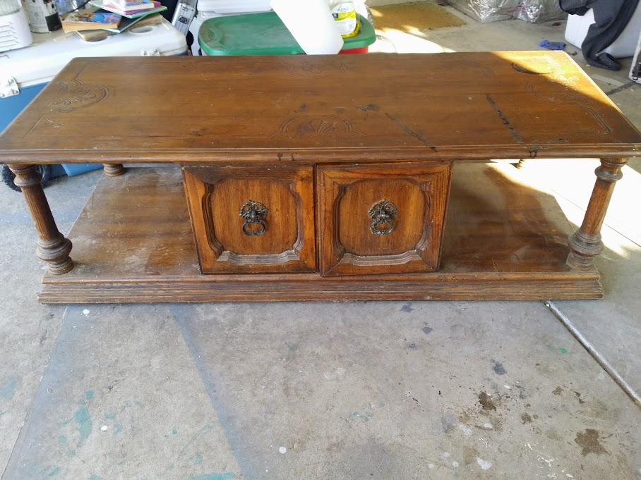 (Before) How an outdated coffee table became an upholstered bench - by Addison Meadows Lane
