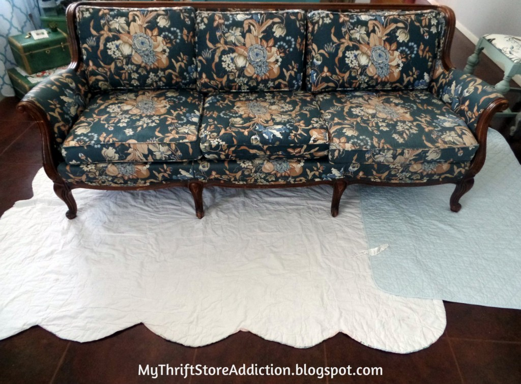 (Before) Vintage Painted Sofa Makeover - by My Thrift Store Addiction