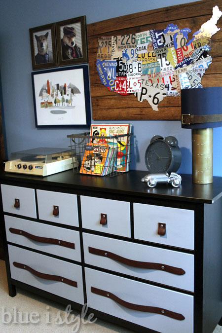 Menswear inspired IKEA hack with leather belt pulls on a Hemnes dresser - by Blue i Style