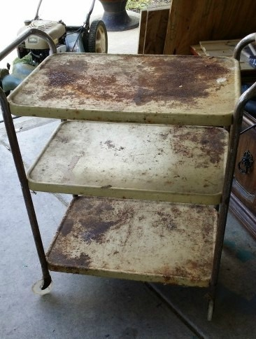 (Before) Rusty to Snazzy Bar Cart Makeover - by Addison Meadows Lane
