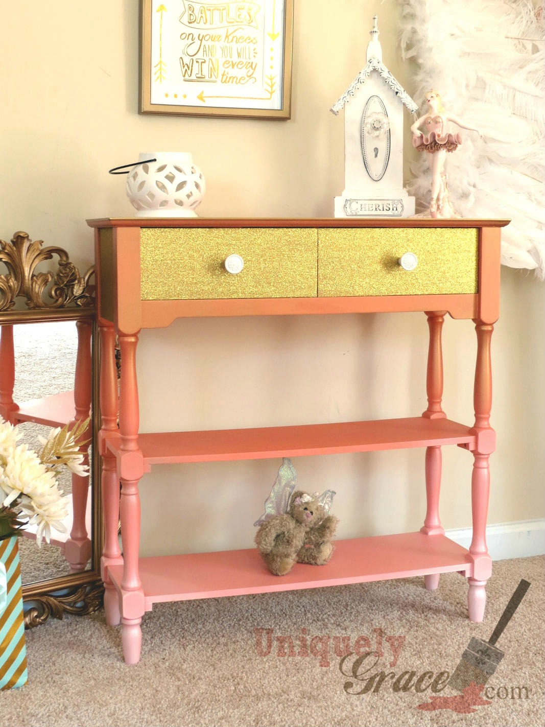 Glamorous Coral and Gold Table Makeover - by Uniquely Grace