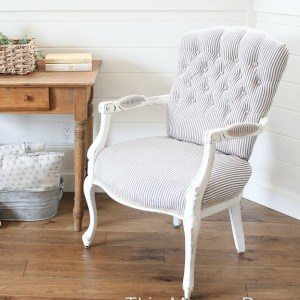 Tufted Ticking Chair