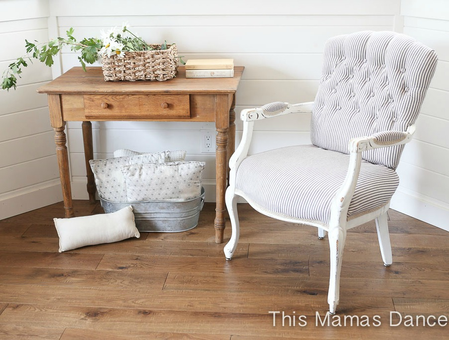 Tufted Ticking Chair Makeover - by This Mamas Dance