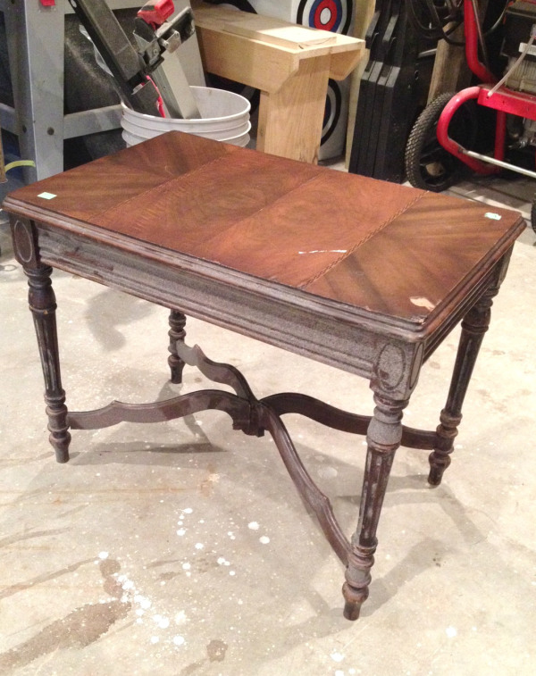 (Before) Repurposed Table into DIY Ottoman - by I Am a Homemaker