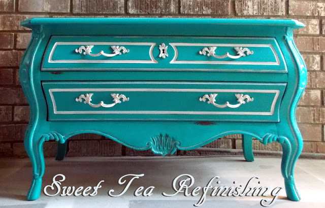 Turquoise Drexel Chest Makeover - by Sweet Tea Refinishing