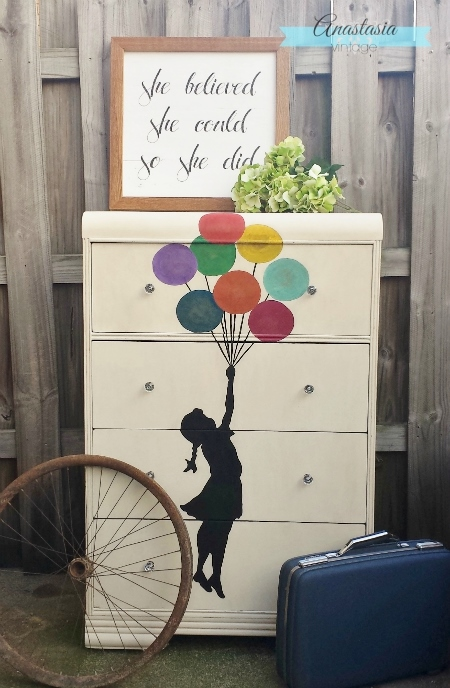 Floating Girl Dresser Makeover - by Anastasia Vintage