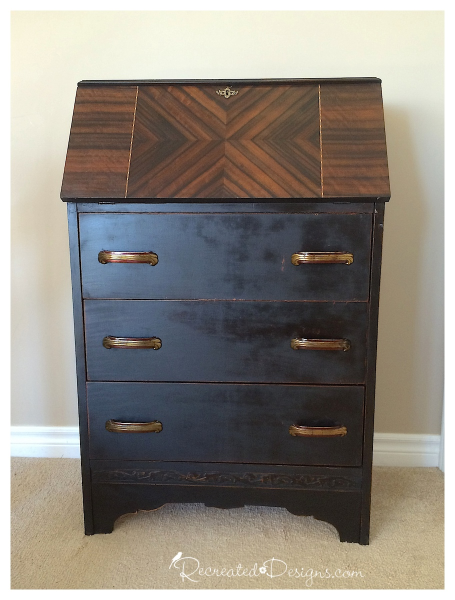 Antique secretary makeover with hemp oil and milk paint - by Recreated Designs