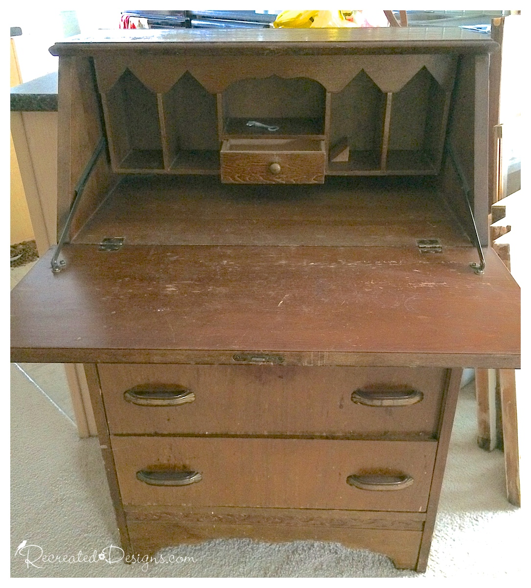 (Before) Antique secretary makeover with hemp oil and milk paint - by Recreated Designs