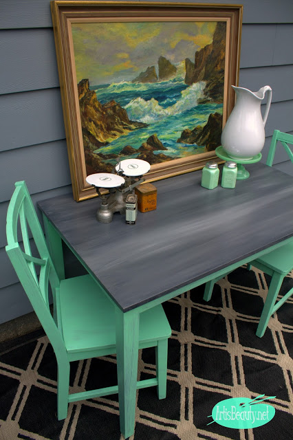 Meant for Mint - Dining Set Makeover - by Art is Beauty