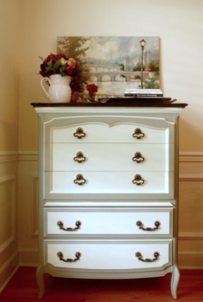 Two-Tone French Provincial Dresser Makeover - by The Tattered Rabbit