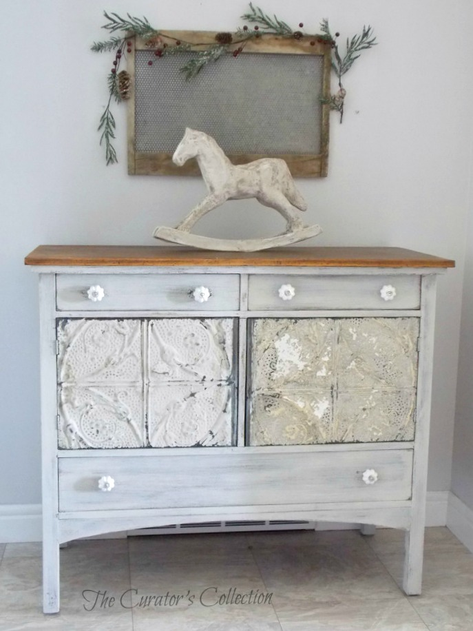 Antique Tin Tiled Sideboard - by The Curator's Collection