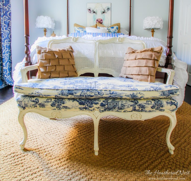 Toile for Two - Settee Makeover - by The Heathered Nest