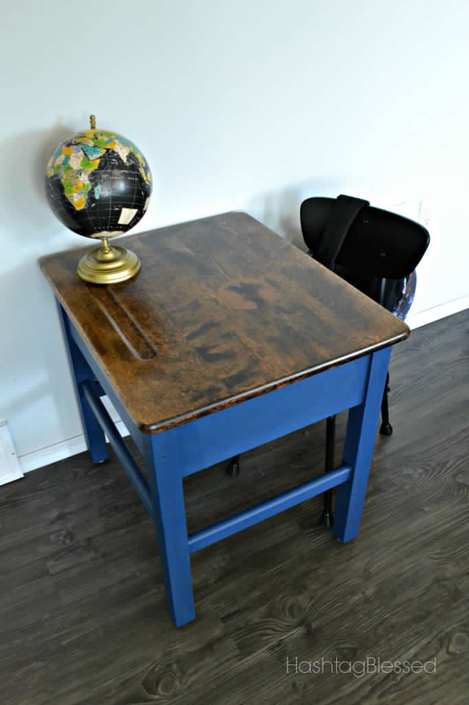 Vintage School Desk Makeover - by HashtagBlessed