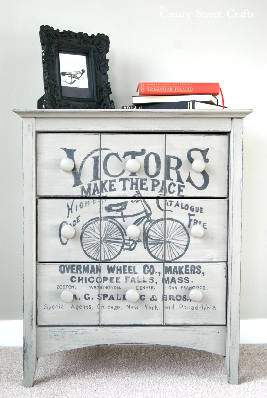 Table makeover with vintage bicycle graphic - by Canary Street Crafts