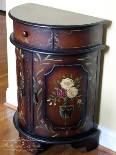 (Before) Don't Discard, Decoupage - Table makeover by What Treasures Await