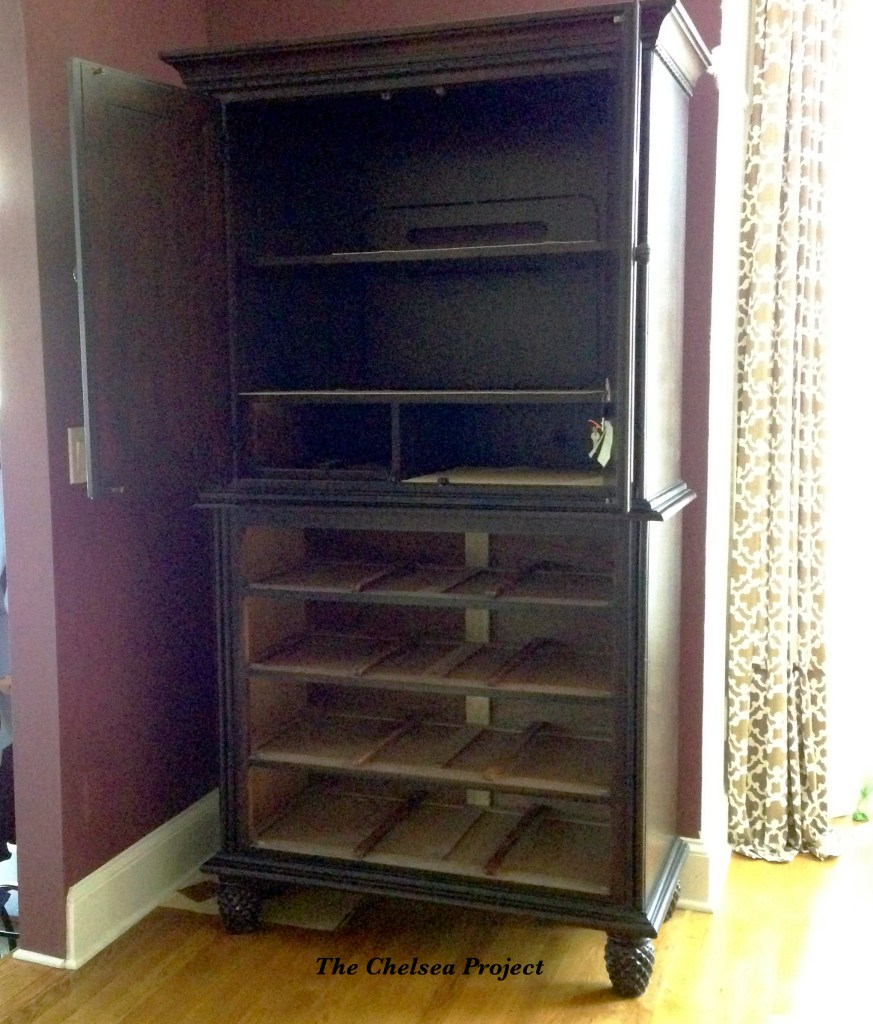 (Before) TV Armoire Makeover to Kitchen Storage - by The Chelsea Project