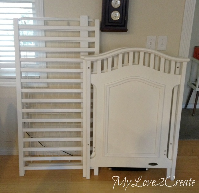 (Before) Free crib repurposed into DIY dog crate - by MyLove2Create