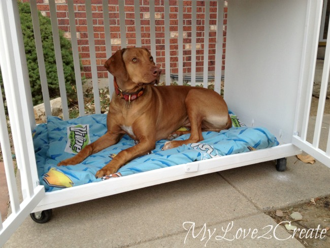 Free crib repurposed into DIY dog crate - by MyLove2Create