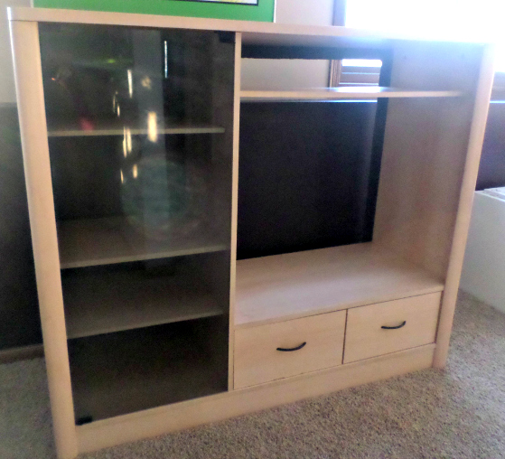(Before) Entertainment Center Makeover to Little Girl's Closet - by Welcome to the Woods