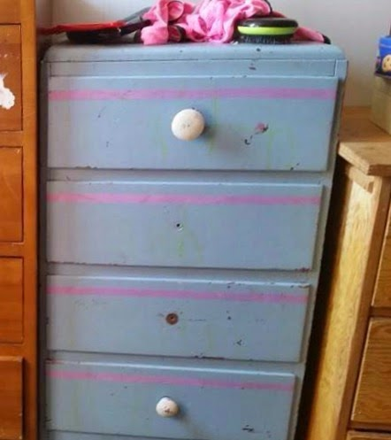 (Before) Numbered Mint Dresser Makeover - by The Painted Poppy Studio
