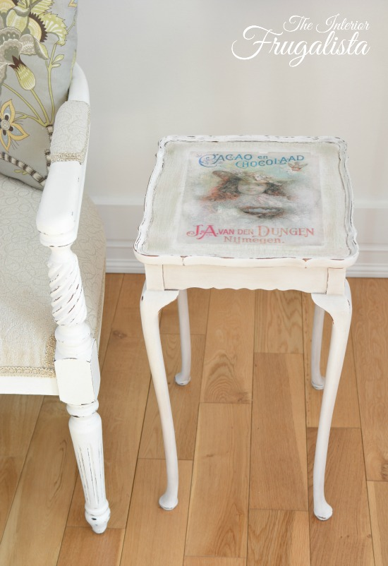 Tea table makeover with vintage chocolate advertisement - by The Interior Frugalista