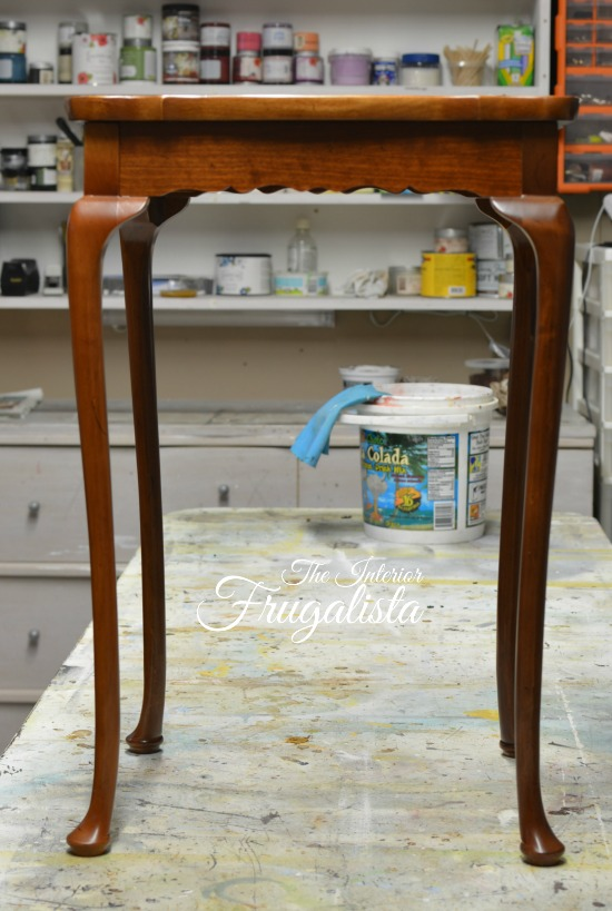 (Before) Tea table makeover with vintage chocolate advertisement - by The Interior Frugalista