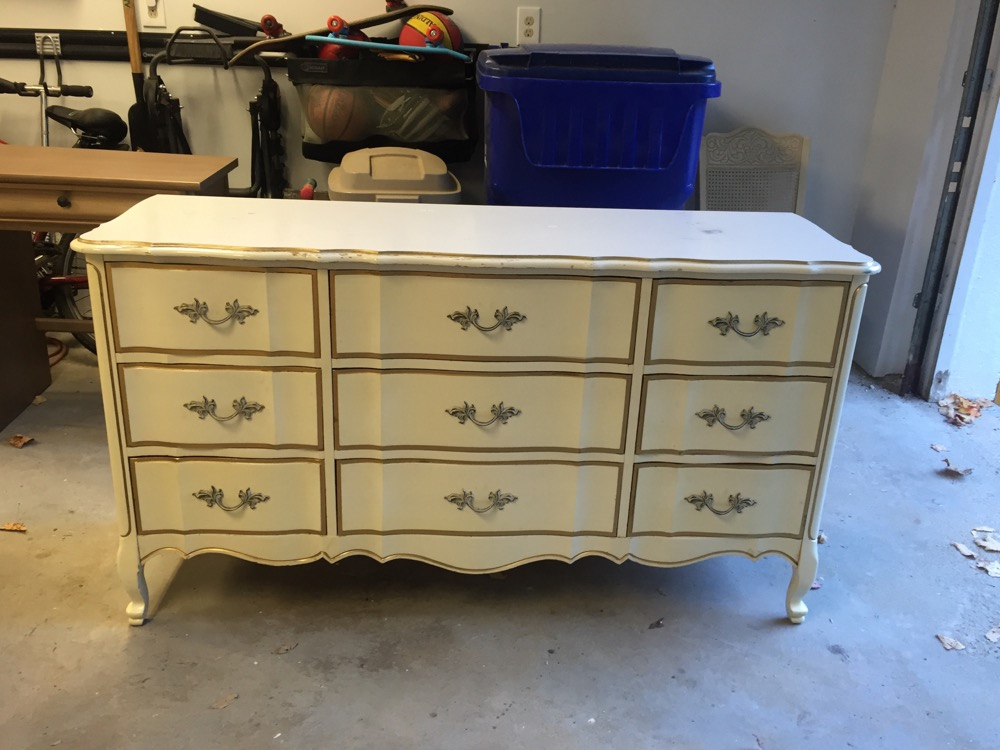 (Before) Gray Glazed French Provincial Dresser Makeover - by The Wood Spa