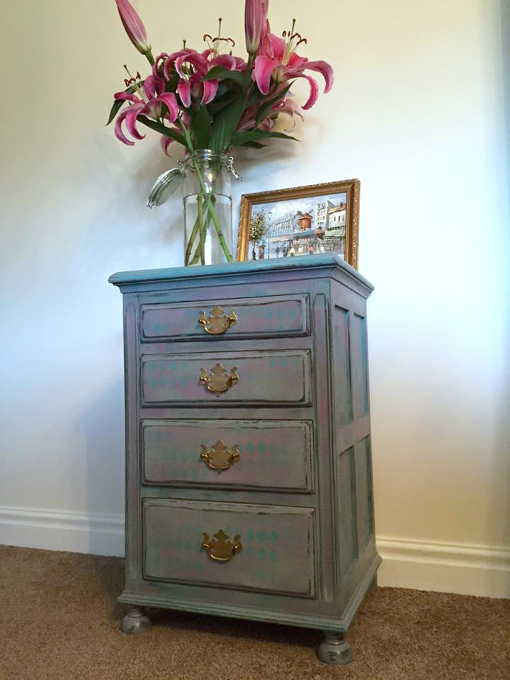 Chalk Paint Harlequin Nightstand Makeover - by Orchard Cottage