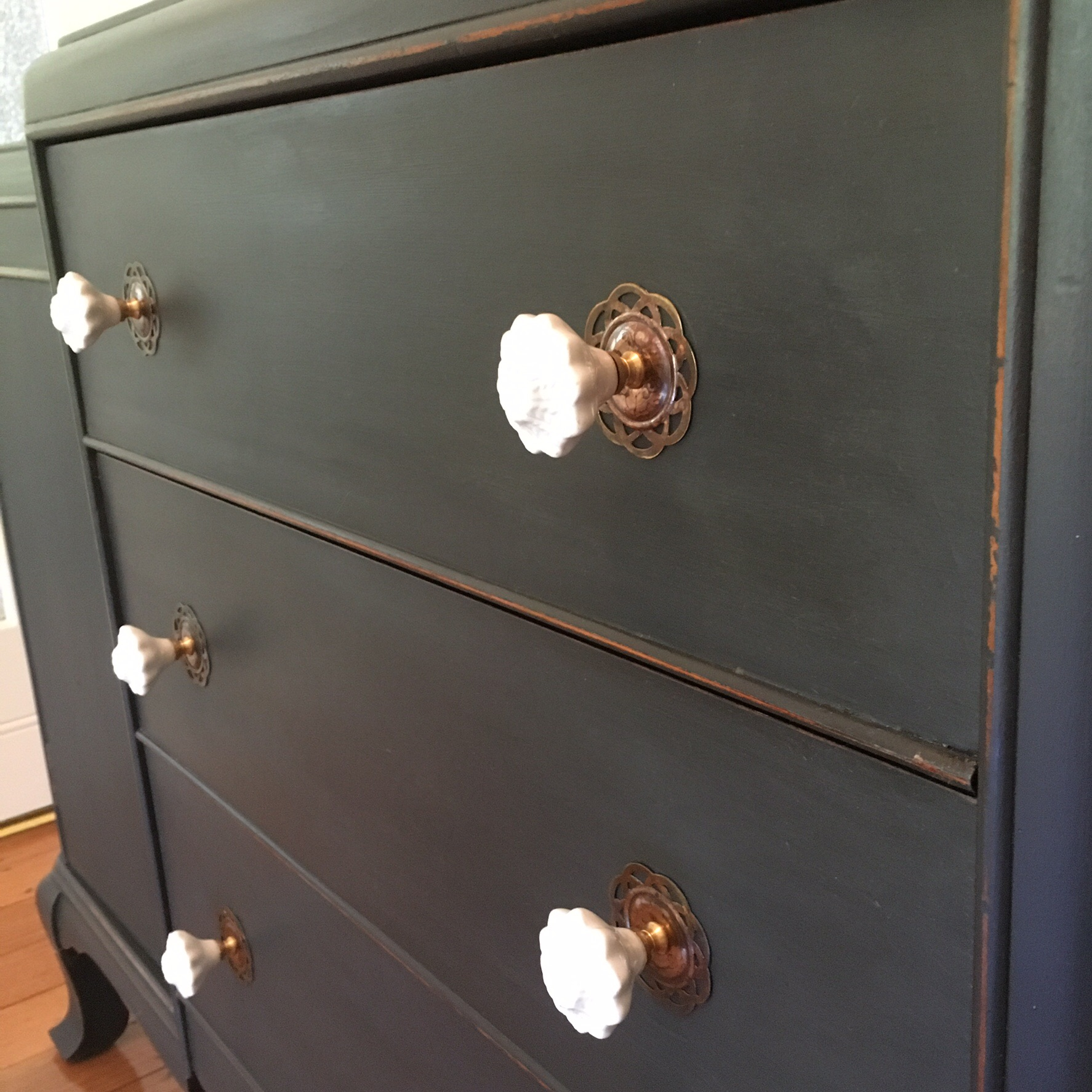 Vintage Sideboard Makeover in Graphite - by Rusty Blue Refashioned Furniture