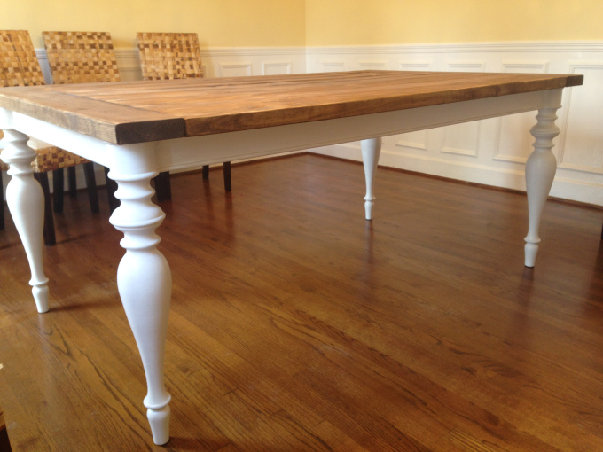 Farmhouse Facelift - Dining Table Makeover by Sawdust and Spices