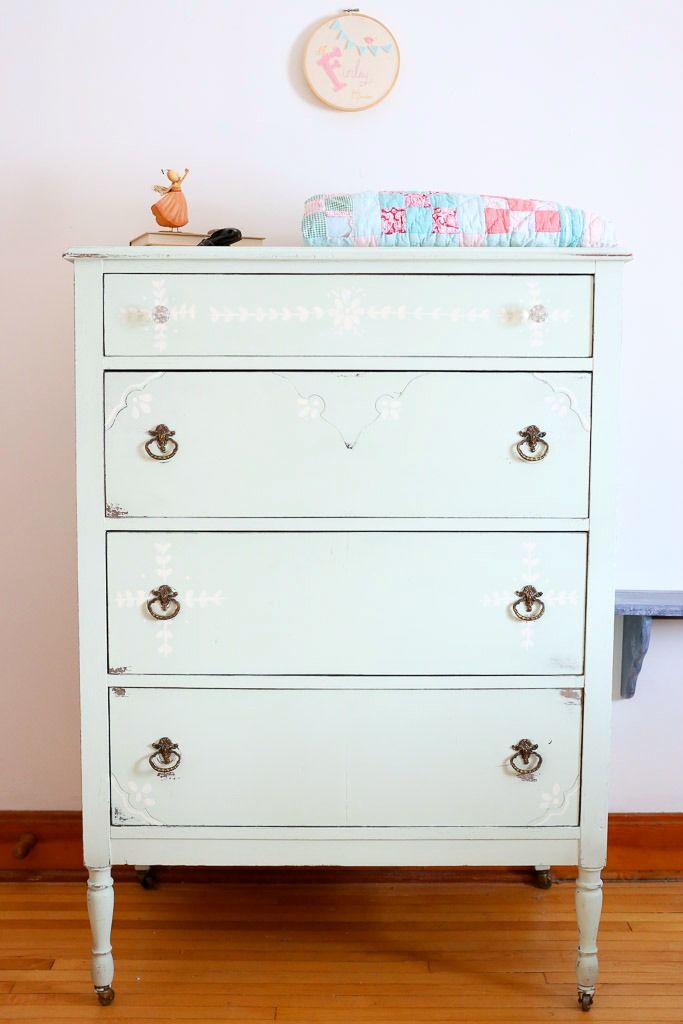 Antique Dresser Makeover with Handpainted Details - by This Mamas Dance