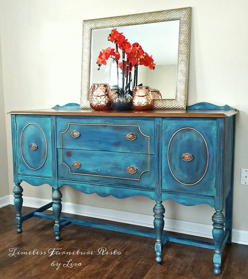 Blended Blue and Gold Buffet Makeover by Timeless Furniture Resto by Lisa - DIY Furniture Makeovers