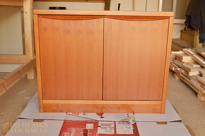 (Before) Thrifted midcentury cabinet makeover with new legs and wallpaper by Do Design Yourself - DIY Furniture Makeovers