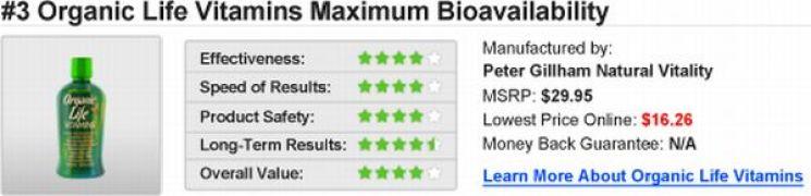 Organic Life Vitamins Maximum Bioavaliability