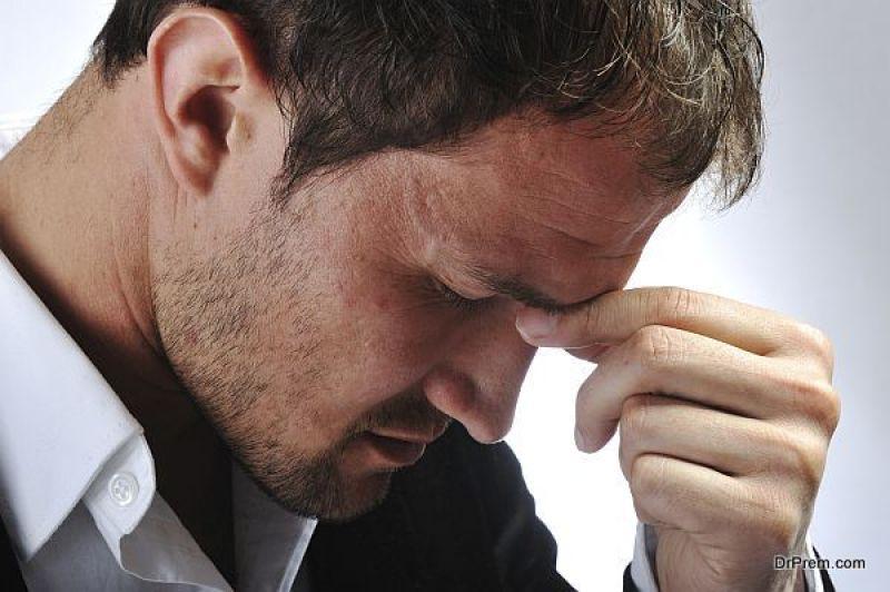 Depressed stressed man