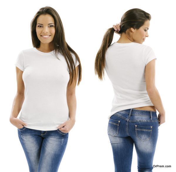 Young beautiful sexy female with blank white shirt, front and back. Ready for your design or artwork.