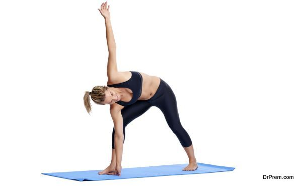 Woman doing yoga poses isolated on white background