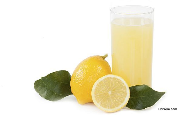 Lemonade or lemon juice isolated on background white