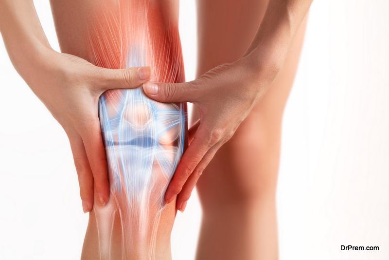Women's leg painful zone.