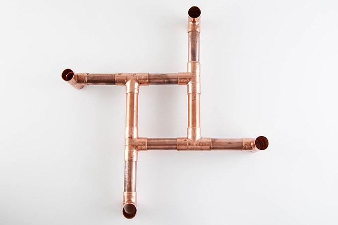 Montagem da estrutura de cobre para a base do vaso de planta