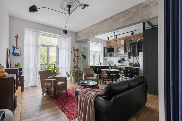 Apartamento urbano/industrial com Sala de estar integrada com cozinha industrial