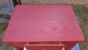 red desk upscycled