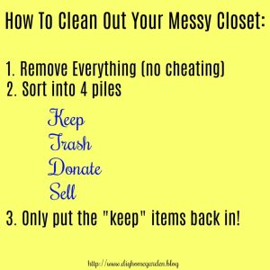 organize closets and take out trash